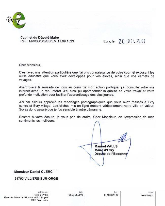 Lettre Manuel Valls